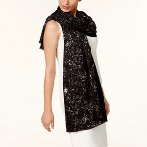 INC International Concepts Accessories - INC Metallic Silver Speckled Wrap & Scarf Black